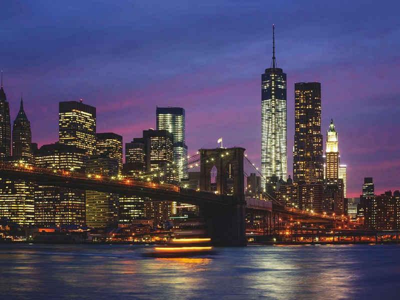 Home affaire Glasbild »Brooklyn Bridge, East River und Manhattan in der Nacht, New York City«, 80/60 cm