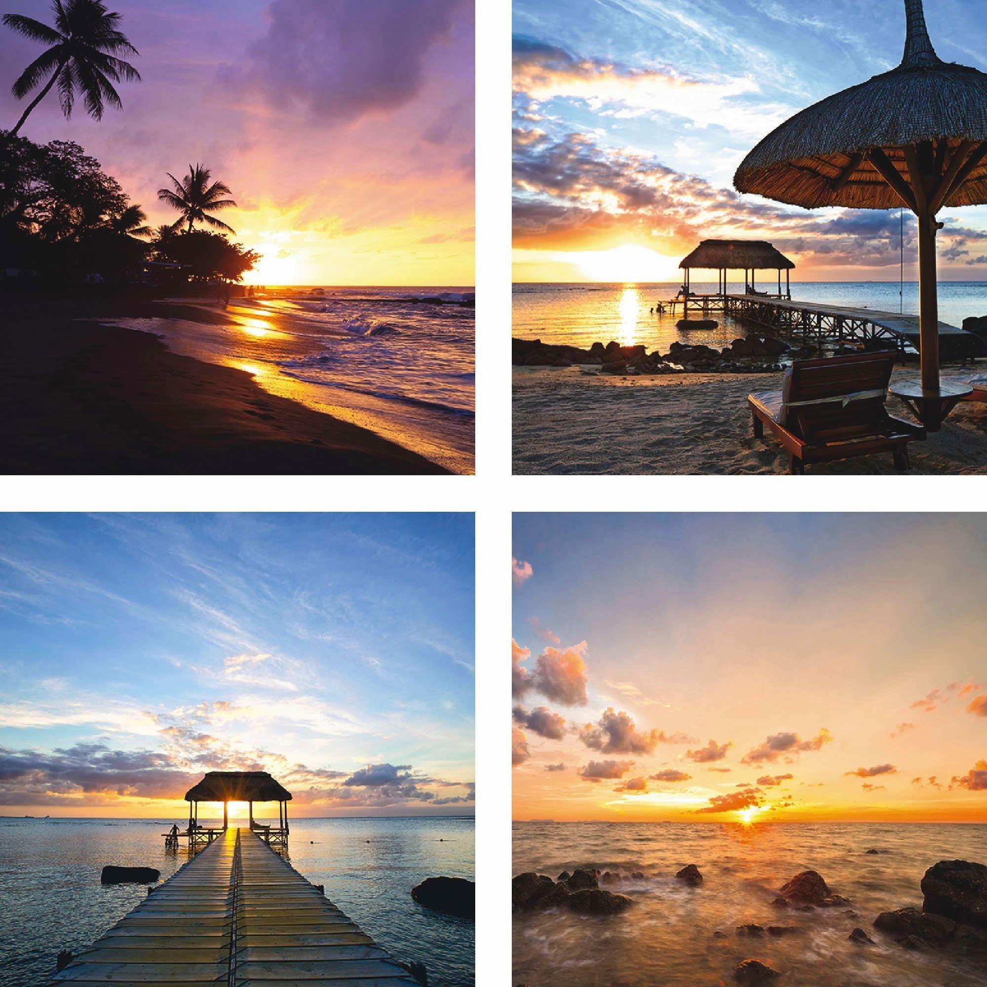 Home affaire Leinwandbild »Vier verschiedene Sonnenuntergänge«, Landschaft (Set, 4 St), 4x 30/30 cm, auf Platte