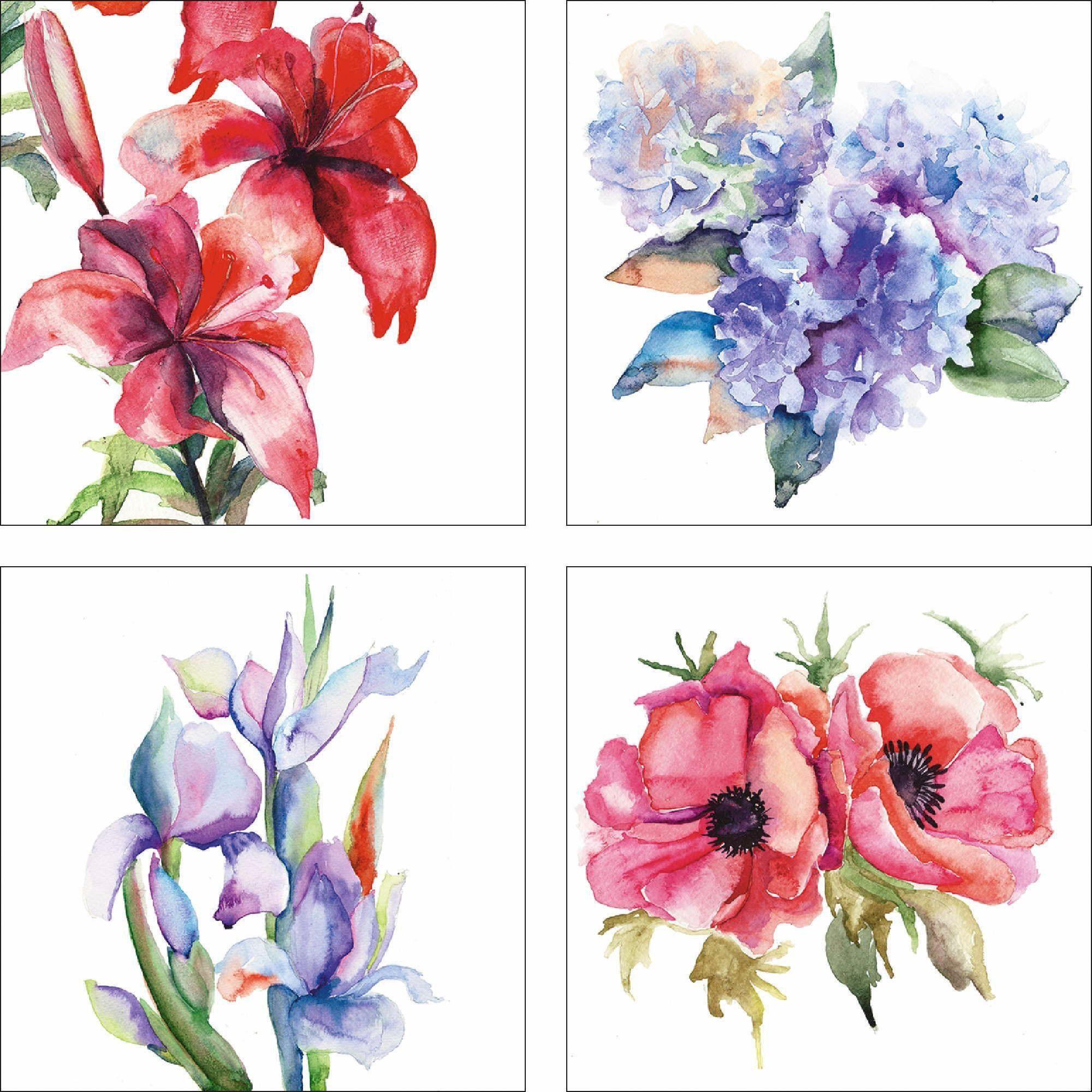 Home affaire Leinwandbild »Unknown: Lilien/Mohnblumen/Iris/Hortensien«, Blumen (Set, 4 St), 4x 30/30 cm, auf Platte