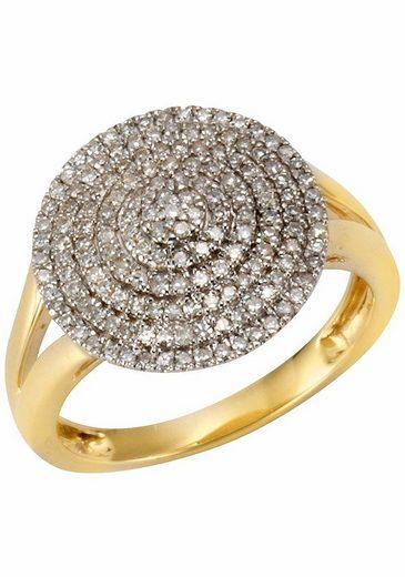 Firetti Diamantring »Glamour, seitlich ausgestanzte Ringschiene«, mit Diamanten