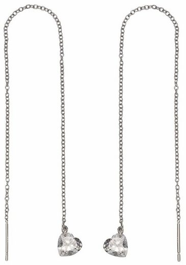 Firetti Paar Ohrhänger »Herzen, zum Durchziehen, rhodiniert, glänzend«, mit Zirkonia
