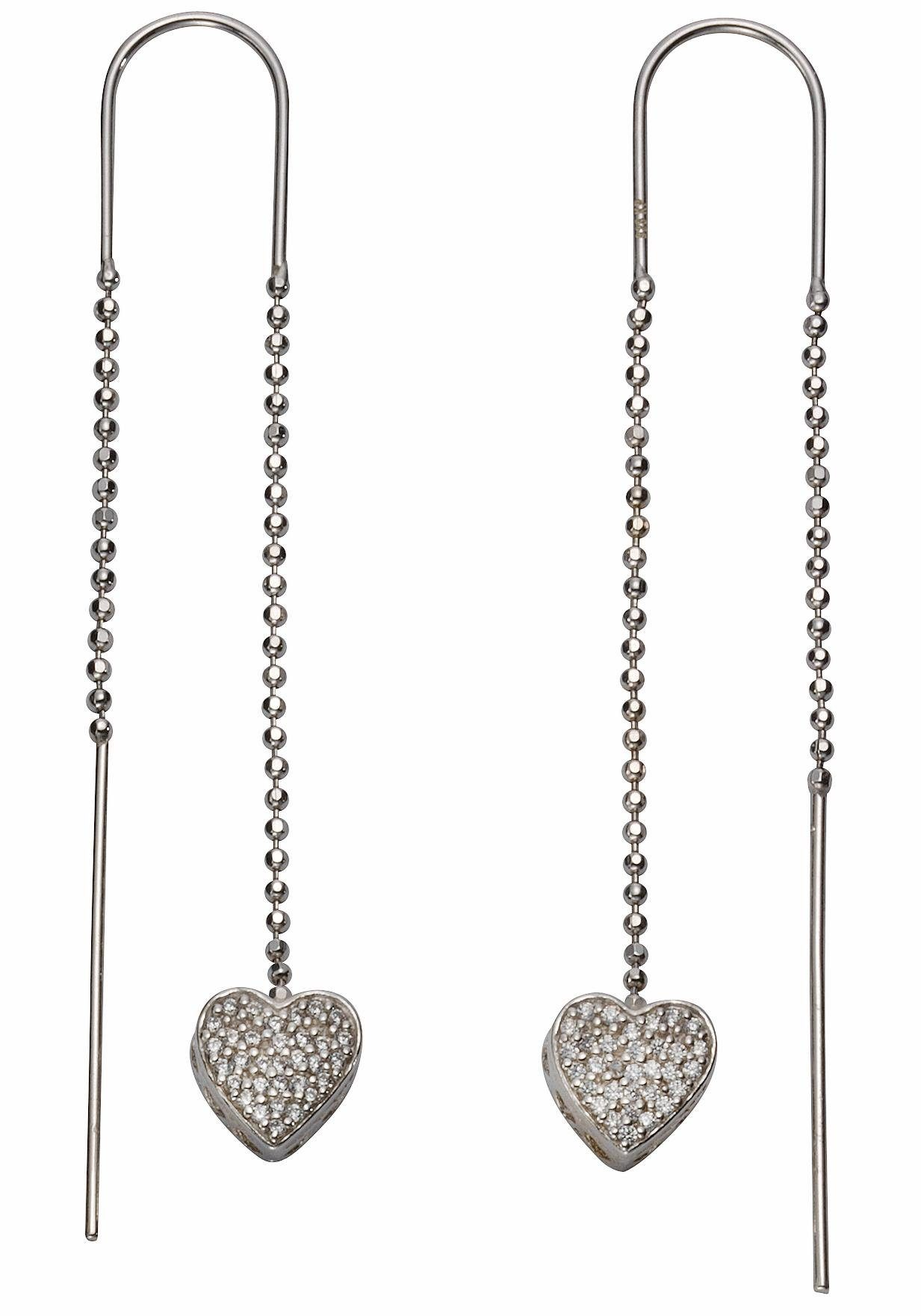 Firetti Paar Ohrhänger »Herzen« mit Zirkonia