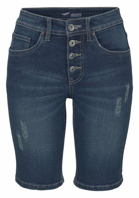 Hosen - Arizona Jeansbermudas »mit sichtbarer Knopfleiste« High Waist › blau  - Onlineshop OTTO