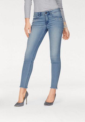 Arizona Skinny-fit-Jeans mit Perlen & Glitzersteinchen, Mid Waist