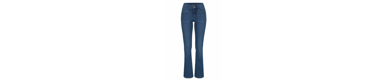 Arizona Bootcut-Jeans Taschen mit Glitzerstein-Applikation, Mid Waist