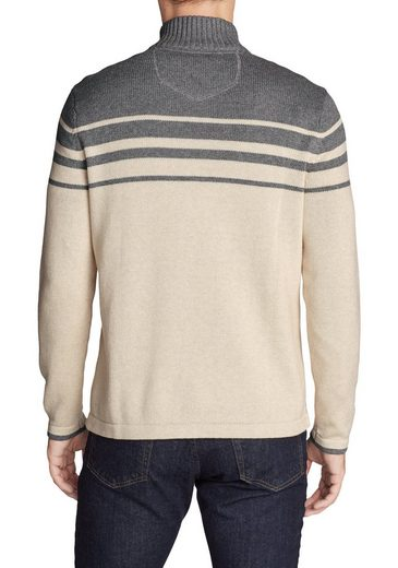 Eddie Bauer Signature Baumwollpullover - 1/4-Reissverschluss - mit Streifen