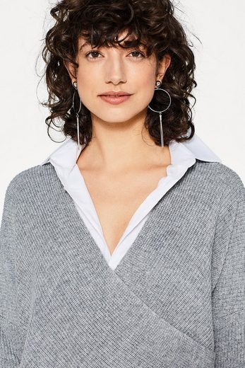 ESPRIT Lässiger Wickel-Pullover mit Kaschmir