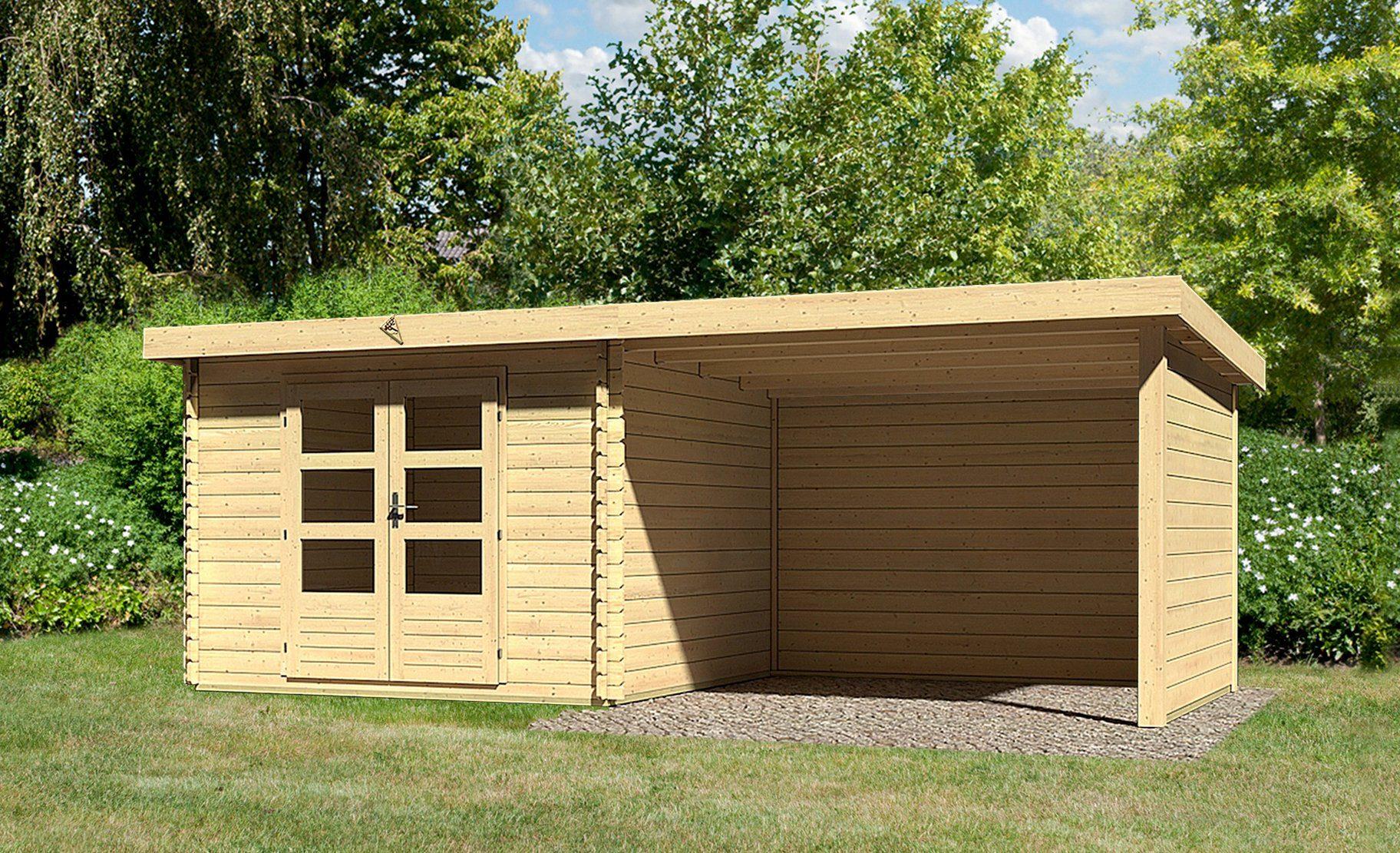 KONIFERA Set: Gartenhaus »Ringköbing 5«, BxT: 615x333 cm, 2 Fenster, Anbau mit Seiten- und Rückwand