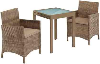 Gartenmöbelset »Treviso Premium«, 5-tlg., 2 Sessel, Tisch 65-130, Polyrattan, inkl. Auflagen