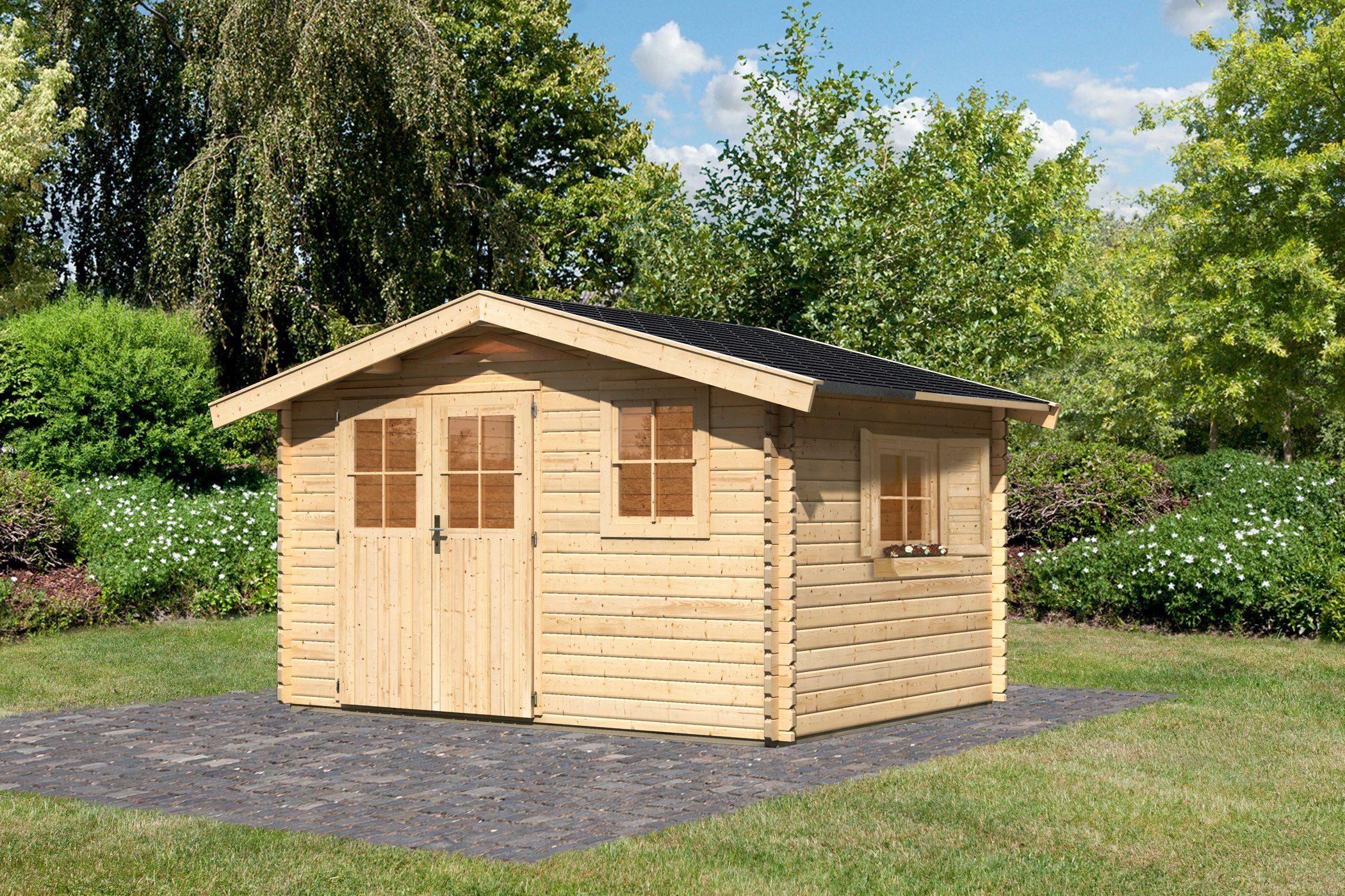 KARIBU Set: Gartenhaus »Köpenick 4«, BxT: 357x267 cm, inkl. Dachschindeln