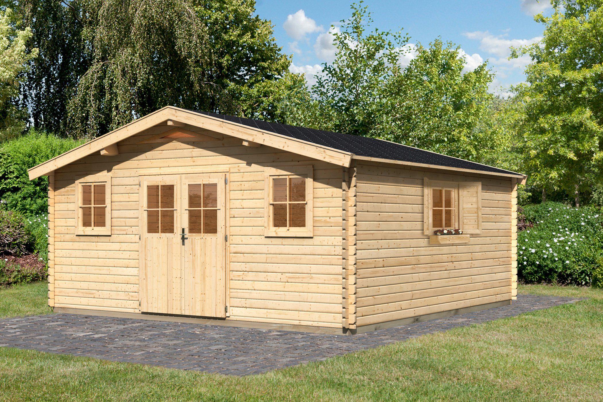 Set: Gartenhaus »Köpenick 8«, BxT: 507x507 cm, natur, inkl. Dachschindeln