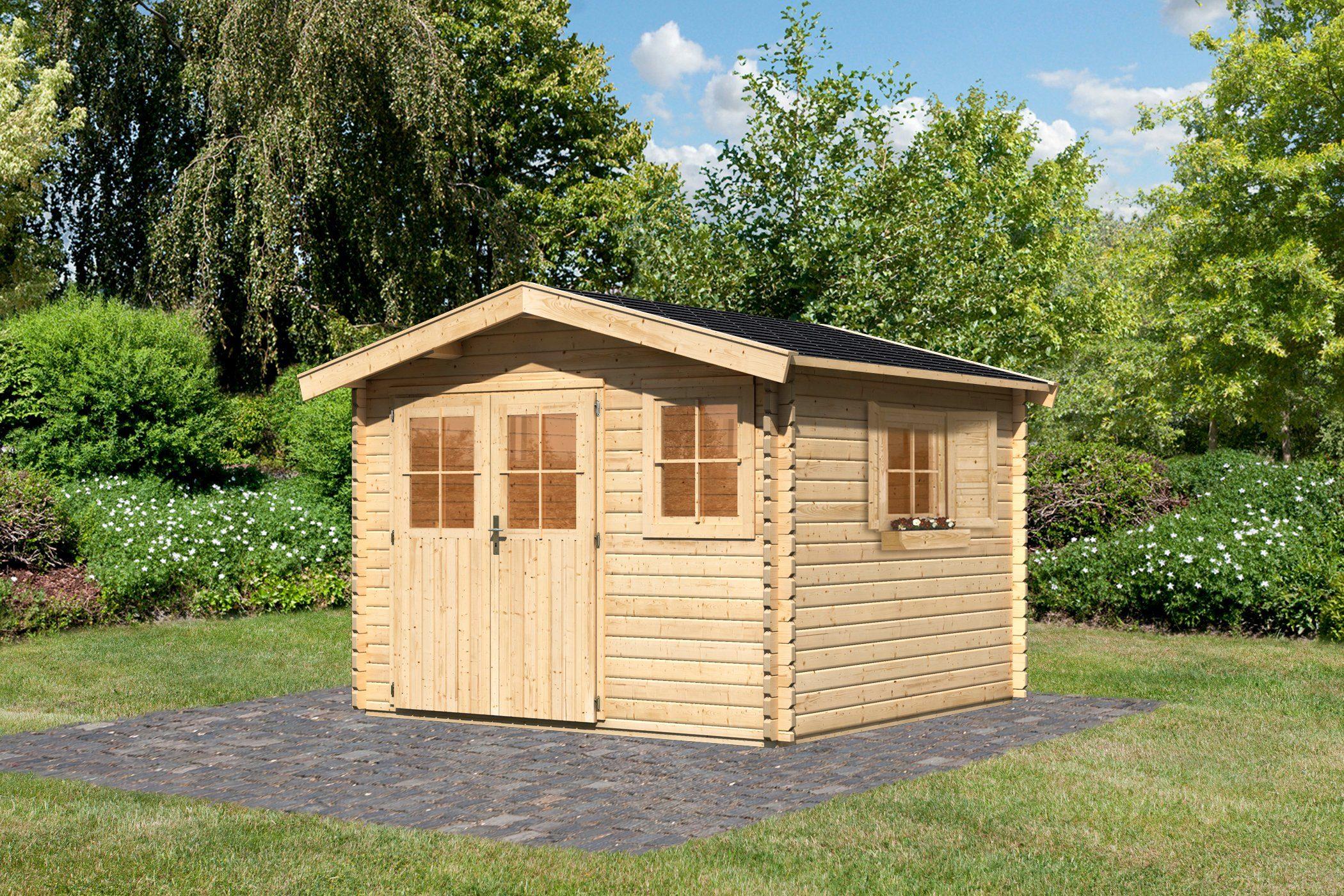 KARIBU Set: Gartenhaus »Köpenick 3«, BxT: 297x297 cm, inkl. Dachschindeln