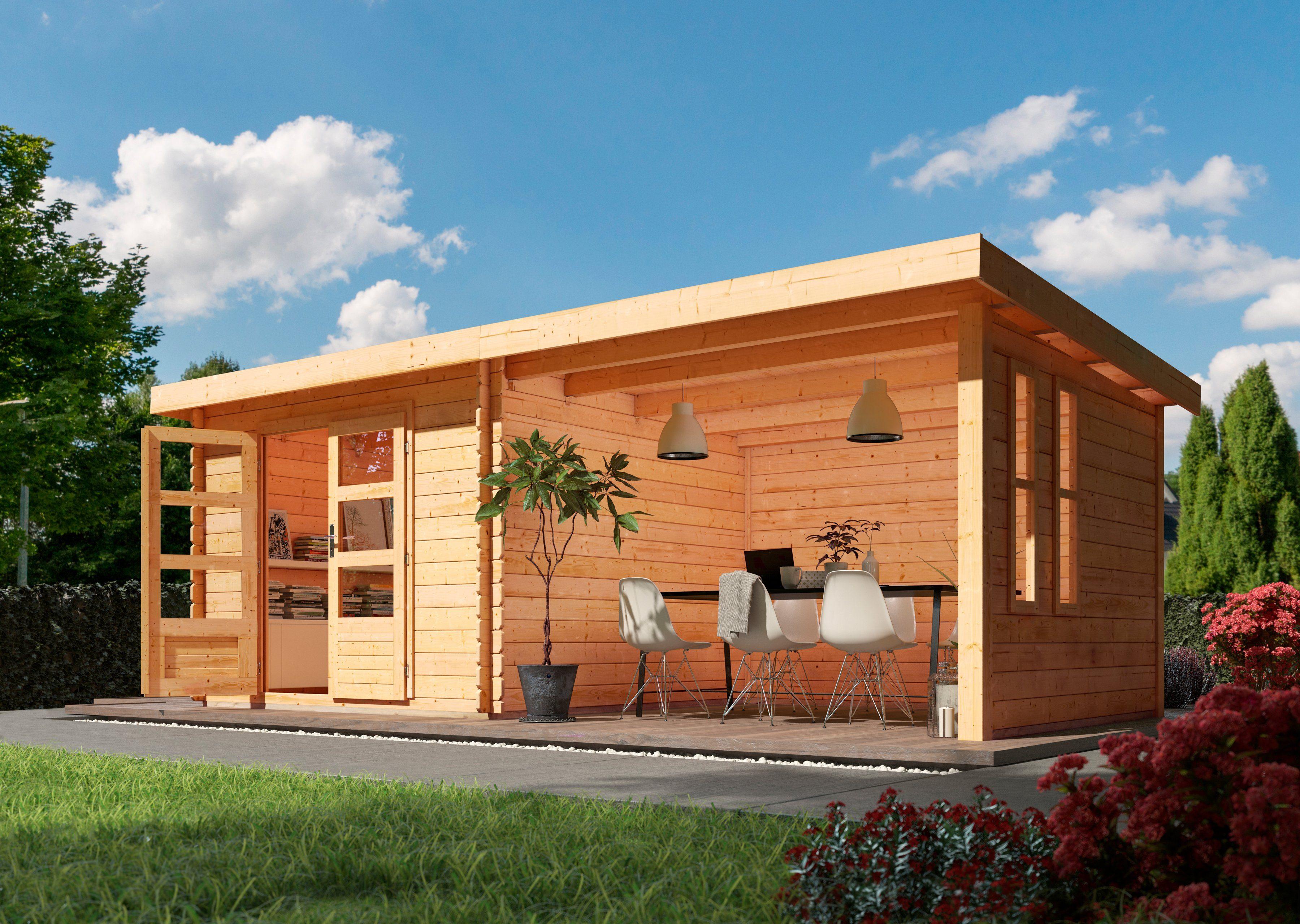 KONIFERA Set: Gartenhaus »Ringköbing 7«, BxT: 675x333 cm, 2 Fenster, Anbau mit Seiten- und Rückwand