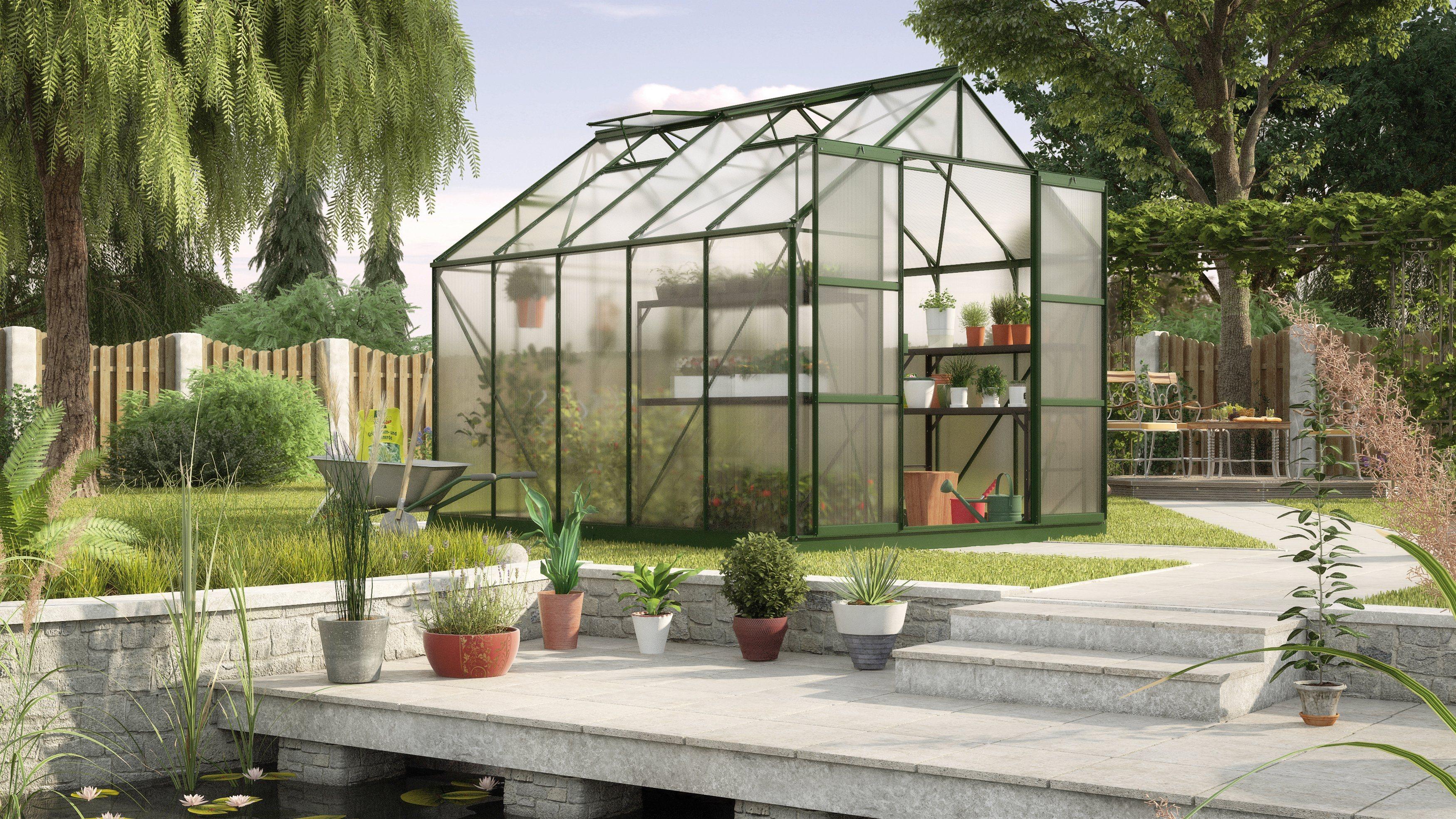 KONIFERA Gewächshaus »Titania 8300«, B/T/H: 254/317/246 cm, grün, 6 mm | Garten > Gewächshäuser | KONIFERA