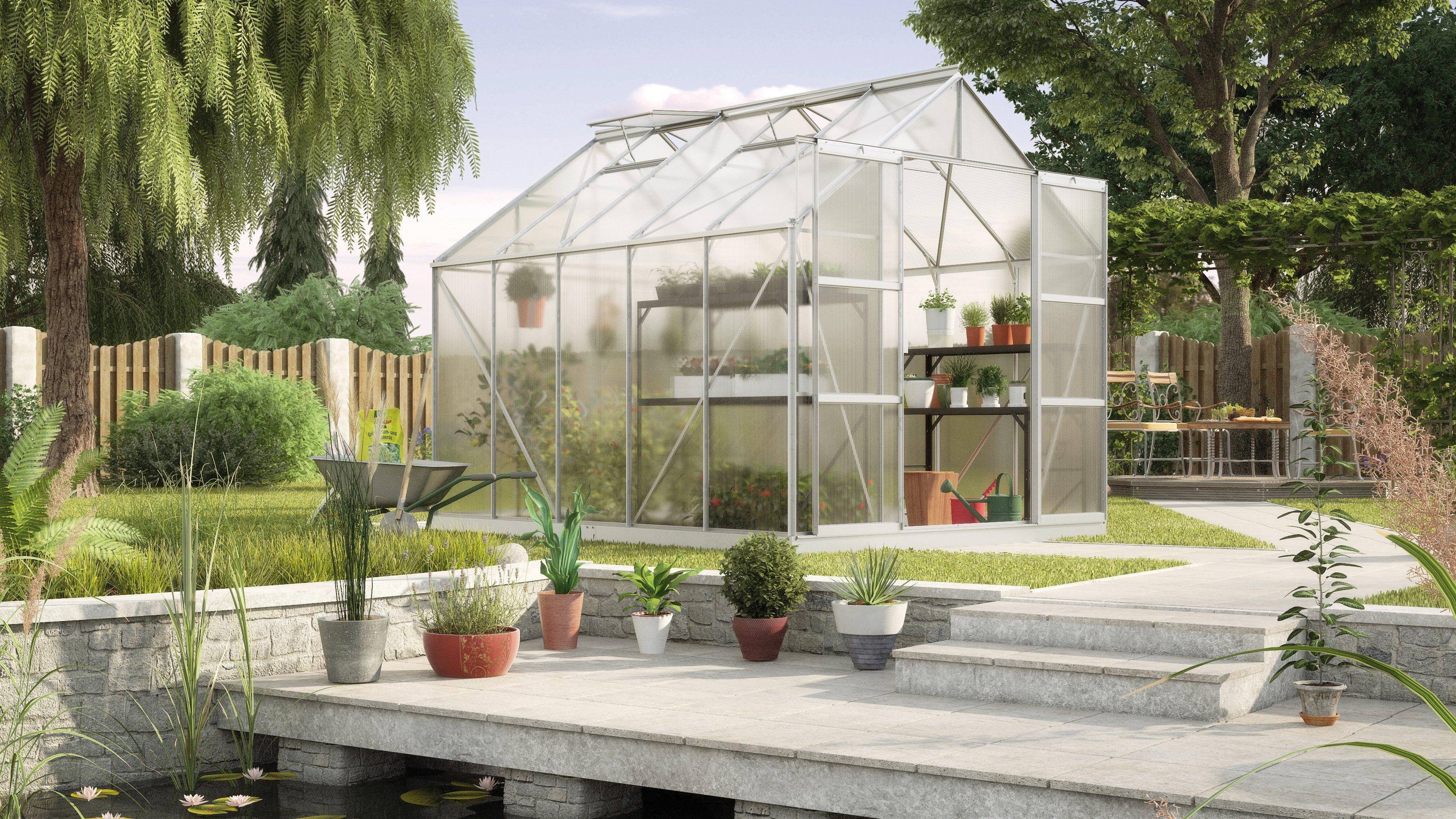 KONIFERA Gewächshaus Set »Titania 8300«, B/T/H: 254/317/246 cm, silber, 6 mm, mit Fundamentrahmen | Garten > Gewächshäuser | KONIFERA