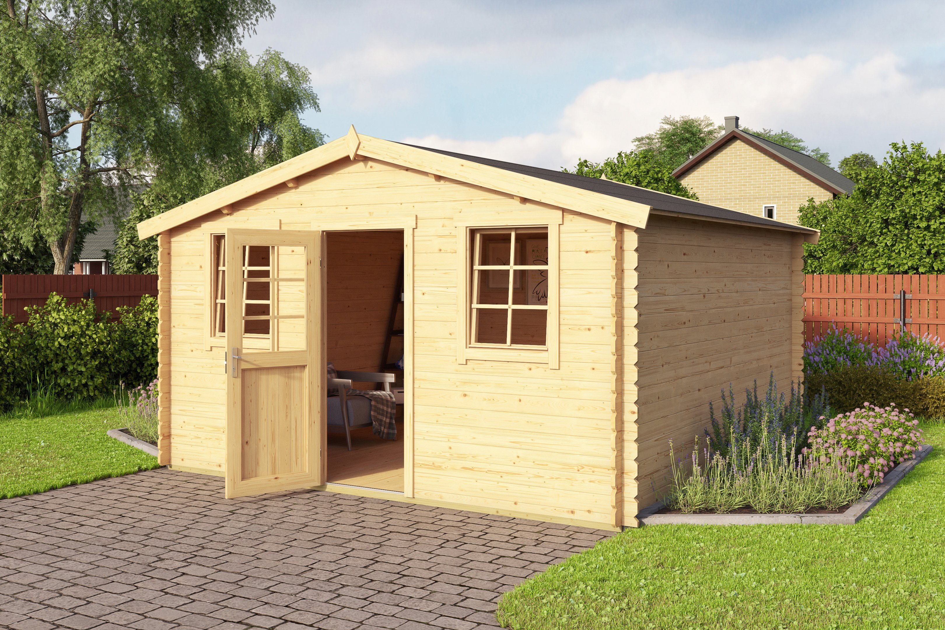 OUTDOOR LIFE PRODUCTS Gartenhaus »Mosel 4 ET«, BxT: 410x410 cm, 28 mm | Garten > Gartenhäuser | Outdoor Life Products