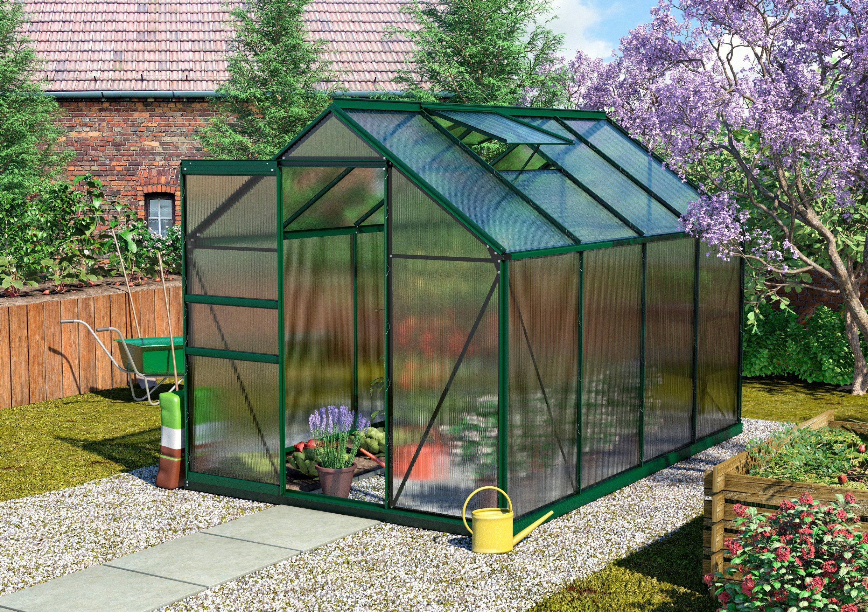 VITAVIA Gewächshaus Set »Calypso 5800«, BxTxH: 192x302x197 cm, grün, 4 mm, mit 2-tlg. Zubehör | Garten > Gewächshäuser | Vitavia
