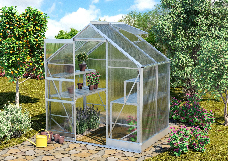 VITAVIA Gewächshaus »Apollo 2500«, BxTxH: 194x130x207 cm, silber, 4 mm | Garten > Gewächshäuser | Vitavia