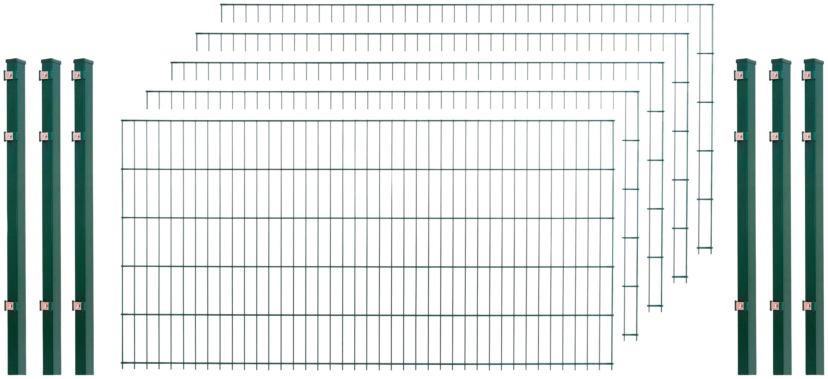 Doppelstabmattenzaun , 5 Stk., LxH: 10x1 m, grün | Garten > Zäune und Sichtschutz | Arvotec