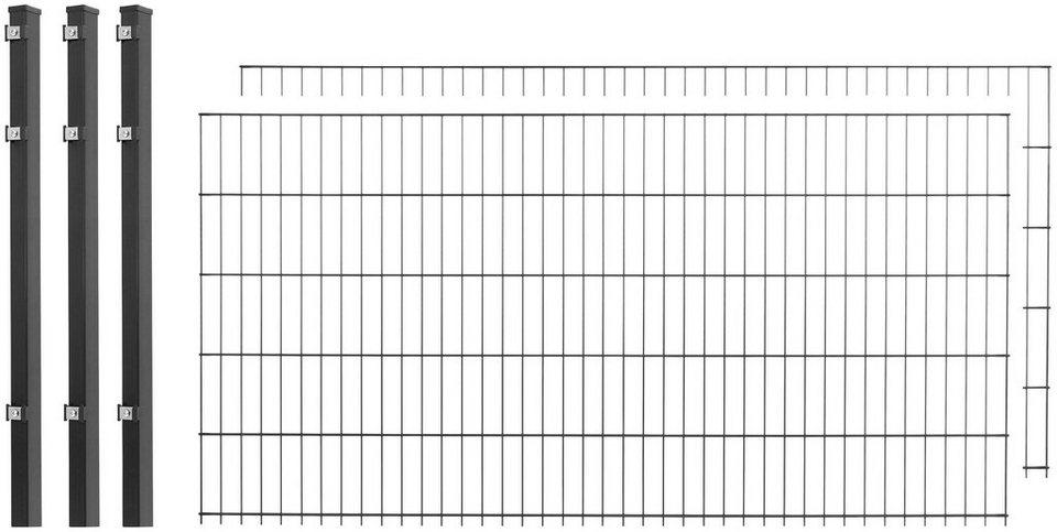 Doppelstabmattenzaun 2 stk lxh 4x1 m anthrazit - Gartenzaunelemente metall ...