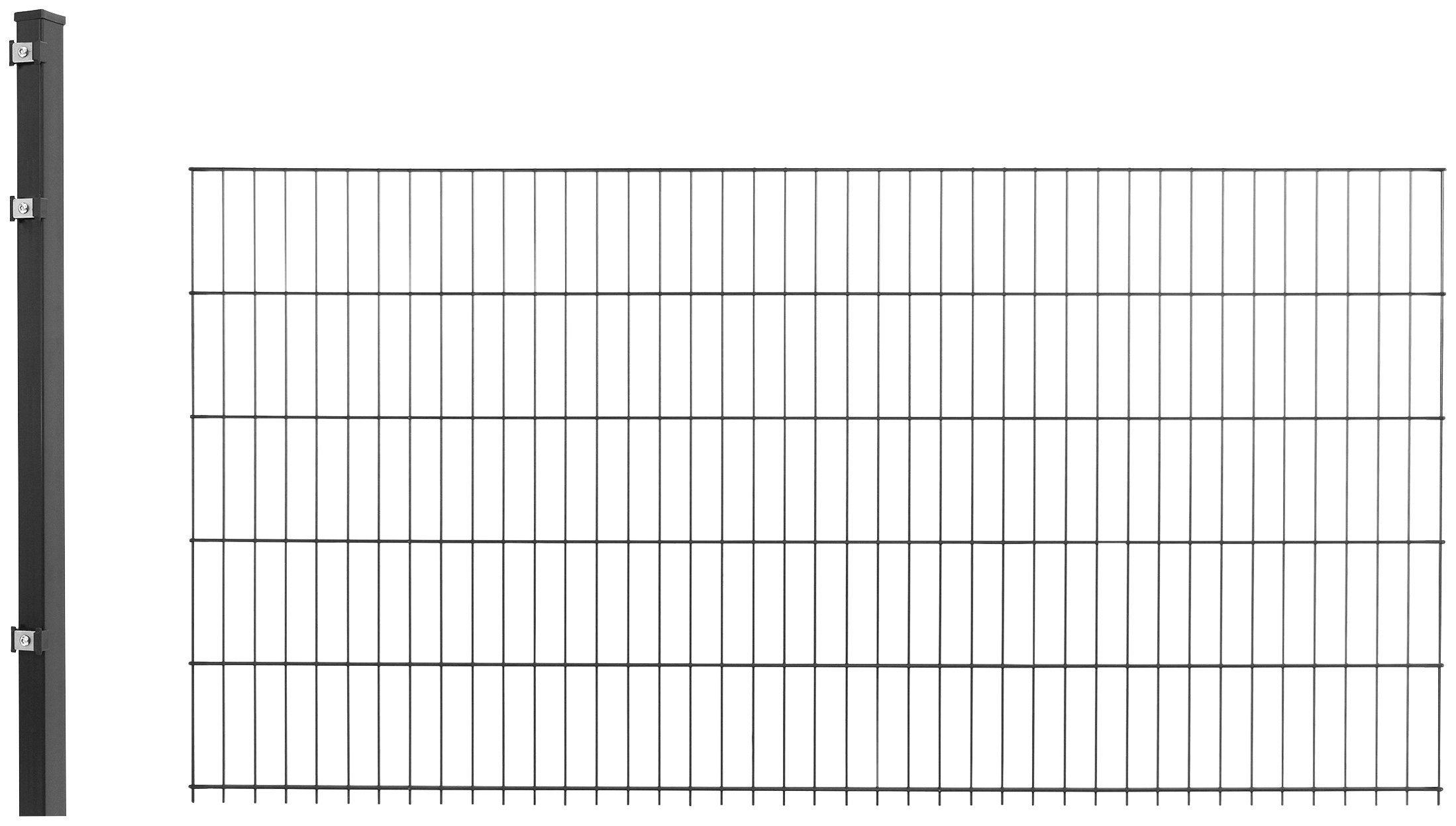 Doppelstabmattenzaun »Anbau-Set«, LxH: 2x1 m, anthrazit | Garten > Zäune und Sichtschutz | Arvotec