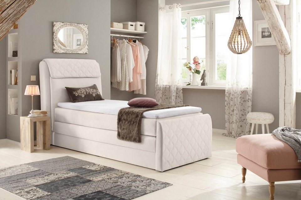 home affaire boxspringbett chester mit stauraumbettkasten und topper in 3 breiten bis zu. Black Bedroom Furniture Sets. Home Design Ideas