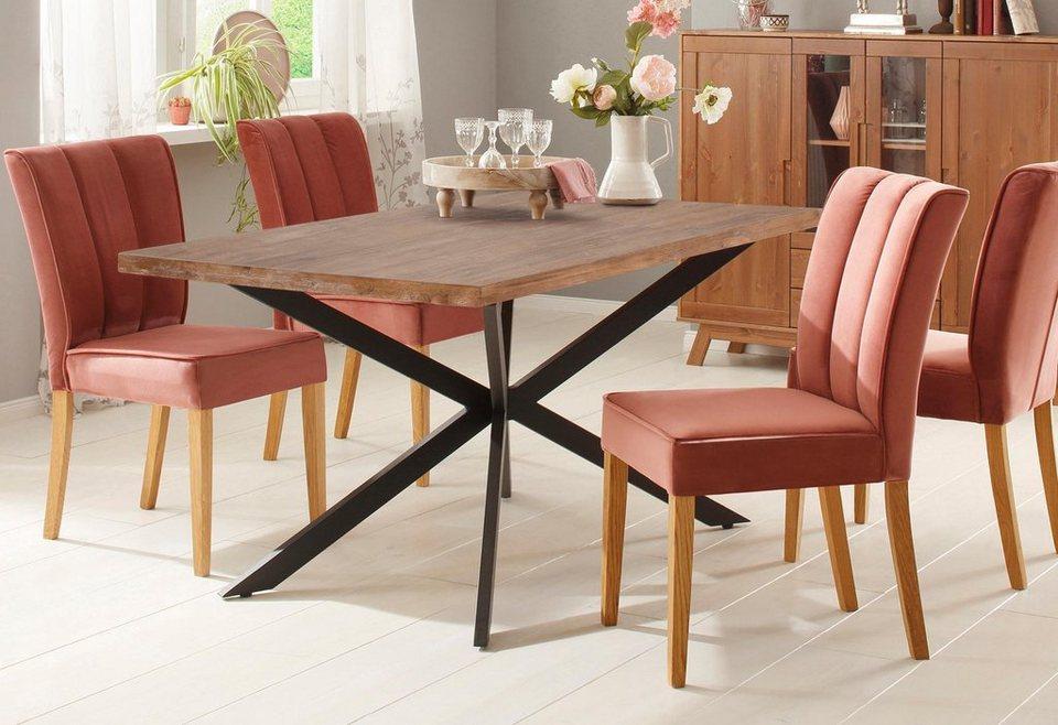 home affaire esstisch austin mit einem au ergew hnlichen beinuntergestell aus metall breite. Black Bedroom Furniture Sets. Home Design Ideas