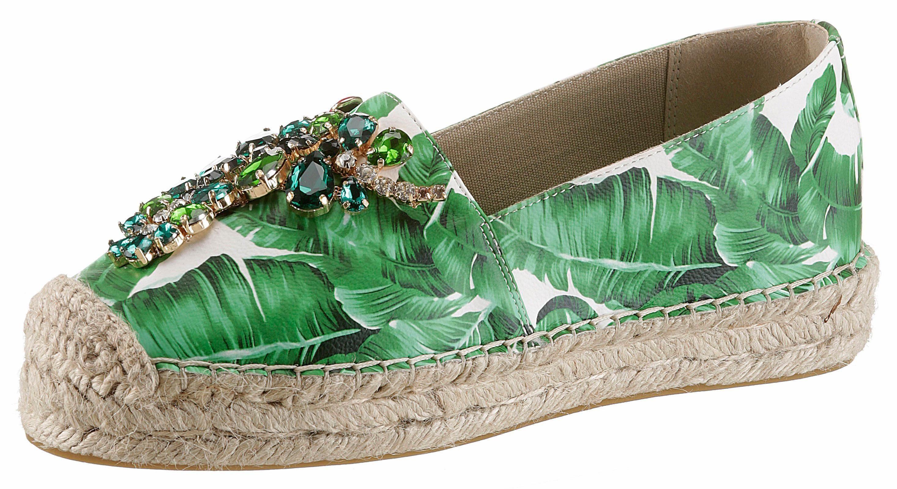 XYXYX Espadrille, mit Dschungelprint online kaufen  grün-weiß