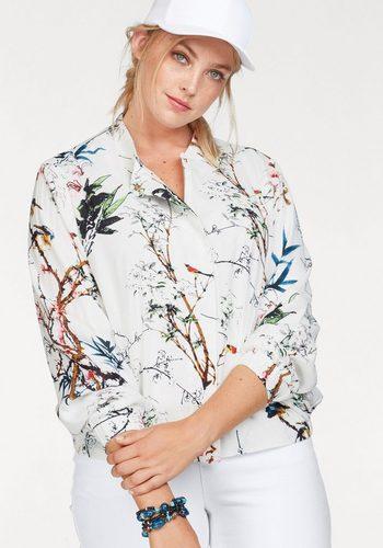 Damen Zizzi Blousonjacke mit filigranen Blumendruck weiß | 05711284160810
