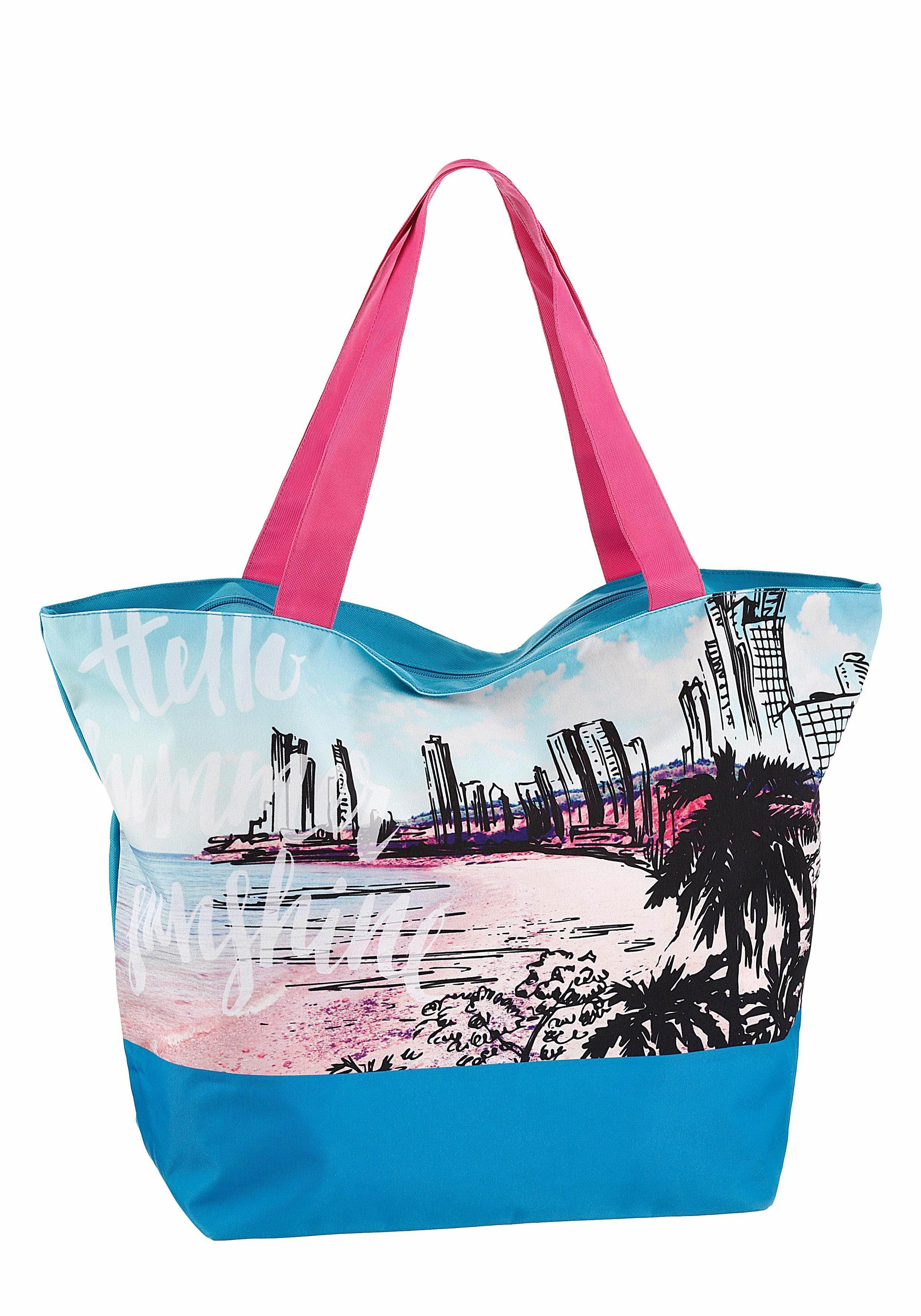 fabrizio® Strandtasche, mit sommerlichen Palmenmotiv