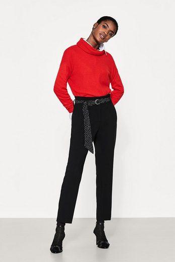 ESPRIT Verkürzte High-Waist-Hose mit Gürtel