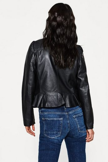 Esprit Collection Soft Leather Jacket With A Feminine Peplum