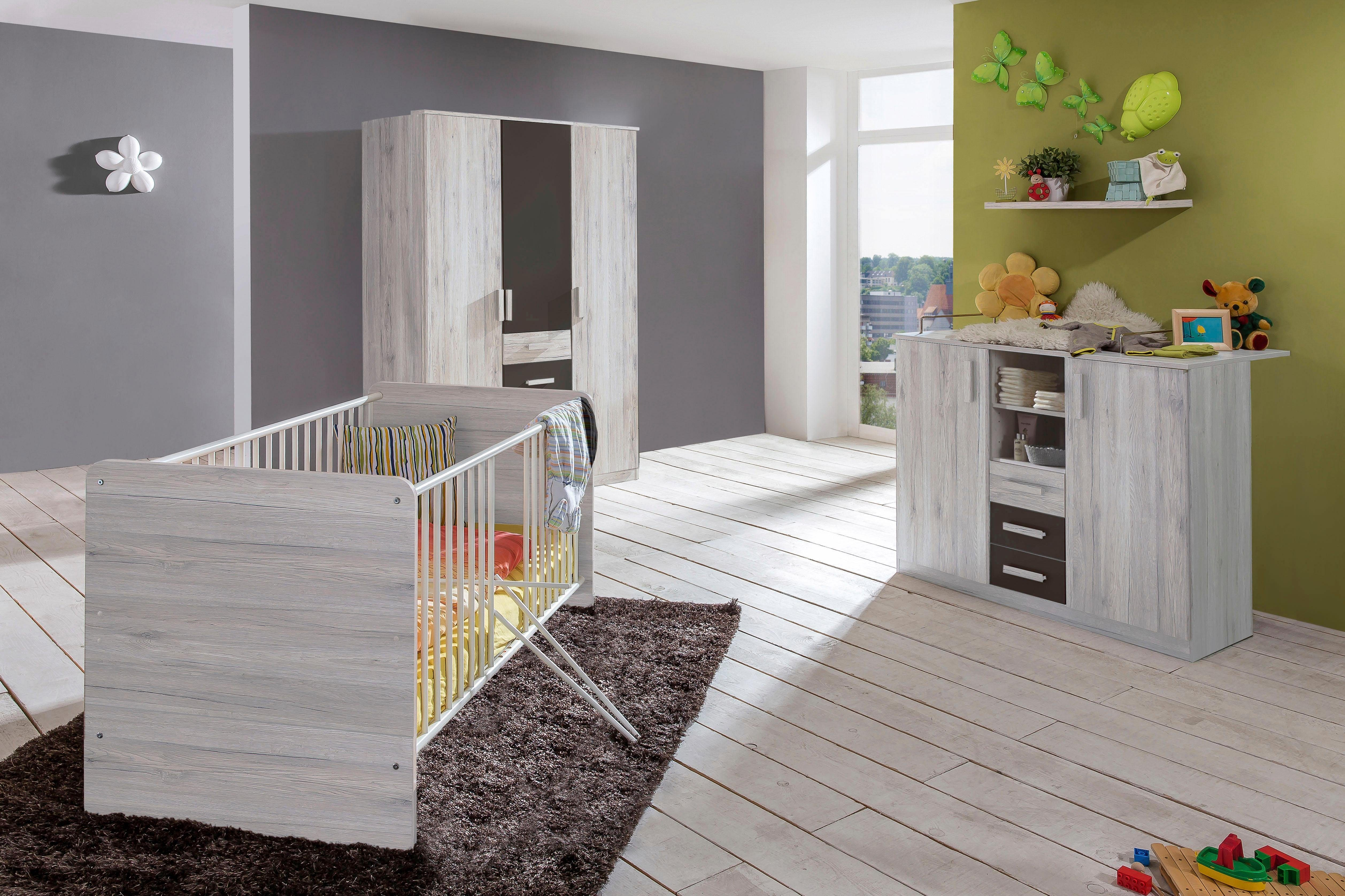 Komplett Babyzimmer »Bergamo« Babybett + Wickelkommode + großer Kleiderschrank, (3-tlg. Set) in weißeiche NB/ lava