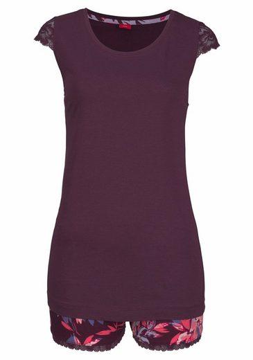 flieder Red Shorts Geblühmter Aubergine Label Mit Shorty oliver Bodywear S Geblümt CdsQrthx