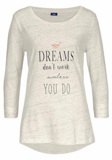 Vivance Dreams Pyjama mit 3/4-Ärmeln und Schrift Print