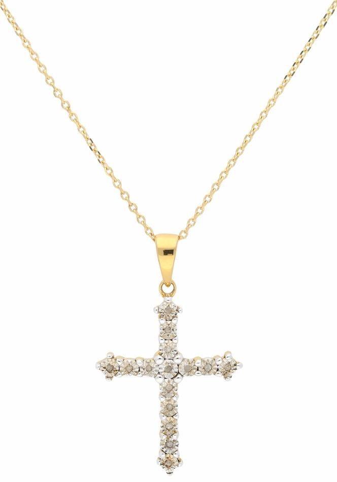 Firetti Kreuzkette mit Diamanten | Schmuck > Halsketten > Kreuzketten | Goldfarben | Firetti