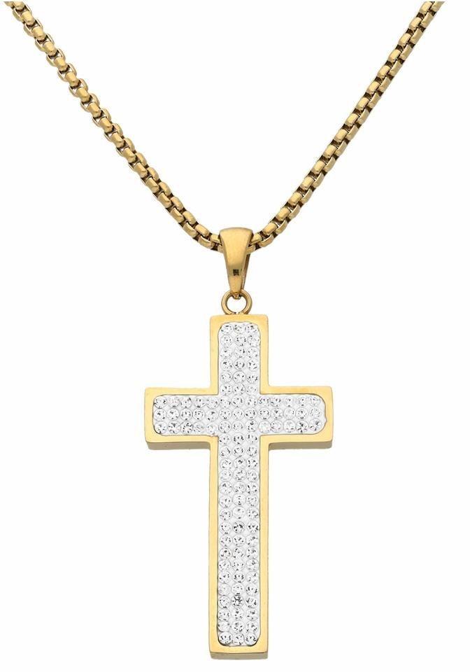 Firetti Kreuzkette mit Kristallsteinen (synth) | Schmuck > Halsketten > Kreuzketten | Goldfarben | Firetti