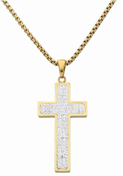Firetti Kreuzkette, mit zahlreichen Kristallsteinen