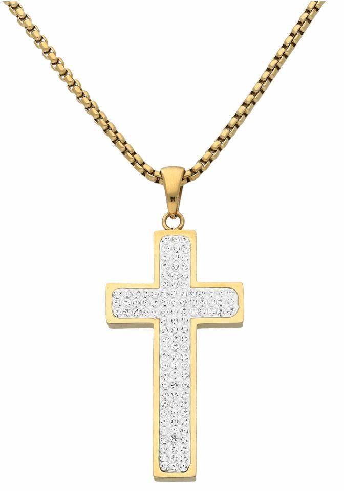 Firetti Kreuzkette mit Kristallsteinen (synth)