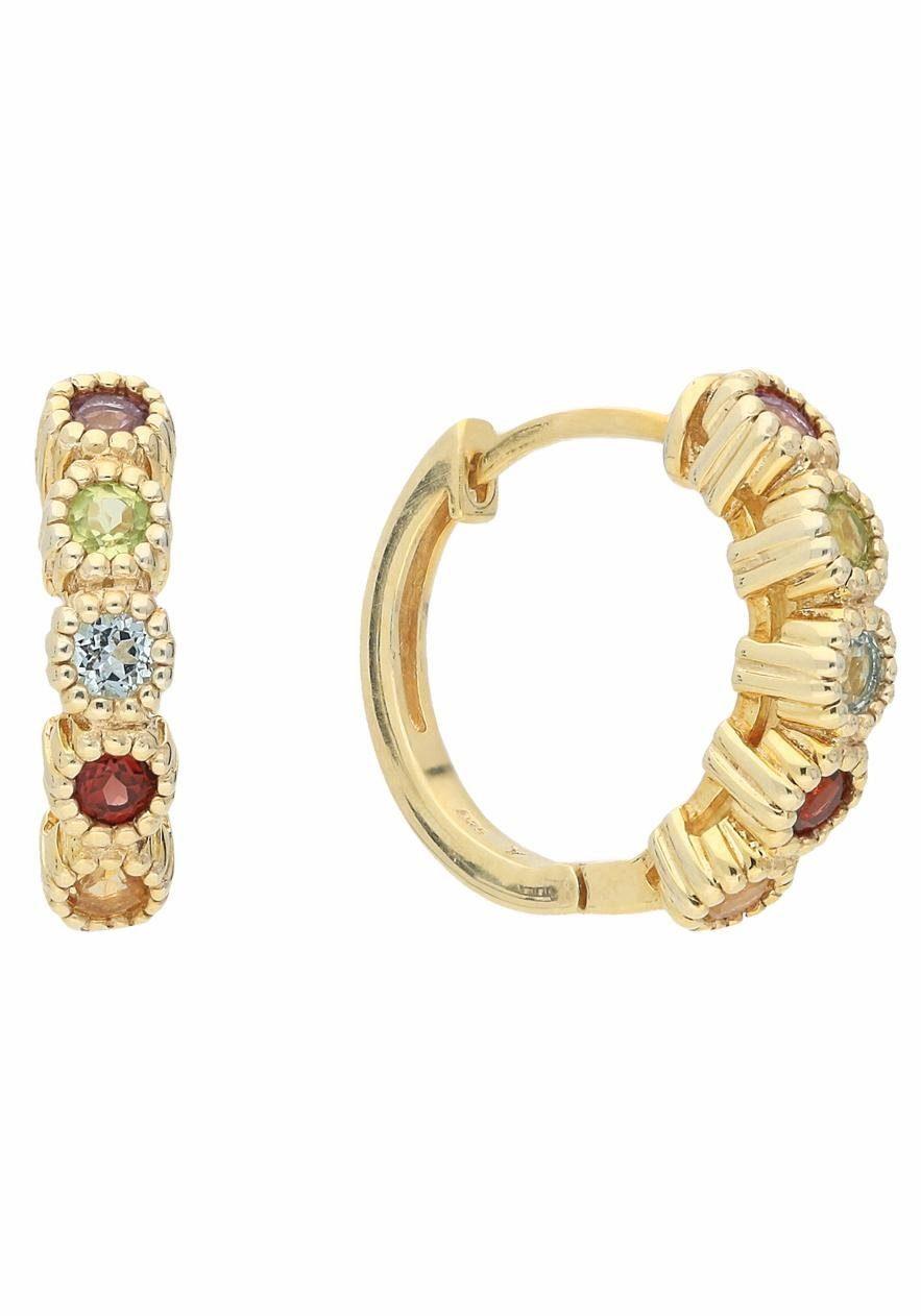 Vivance jewels Paar Creolen mit Amethyst, Granaten, Peridot, Citrin, Blautopas (beh)