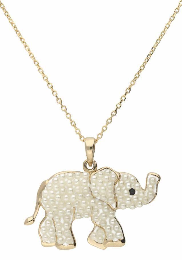 Firetti Kette mit Anhänger »Elefant«, mit Perlen (synth) und Kristallstein (synth)