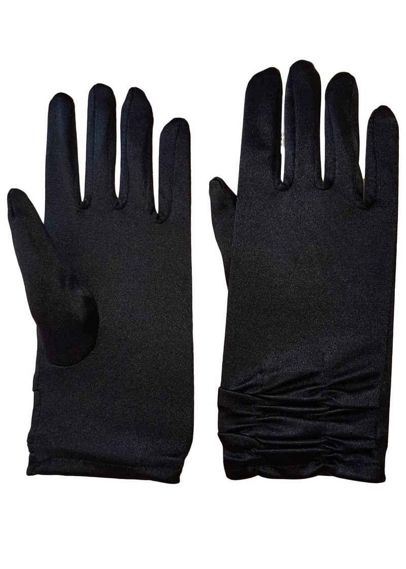 Family Trends Abendhandschuhe »Satin Damen Handschuhe kurz mit Raffung dehnbar« im Satin-Look