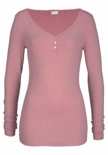 Damen Petite Fleur Langarmshirt gerippt mit Knopfleiste rosa   04893962414710