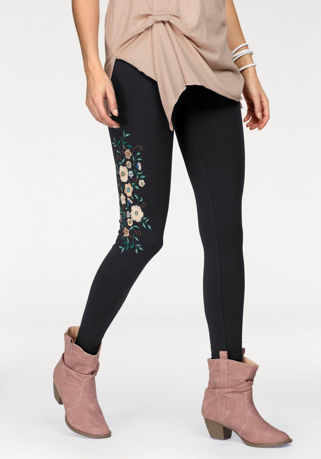 Boysen´s Leggings mit bunter Blumen-Stickerei