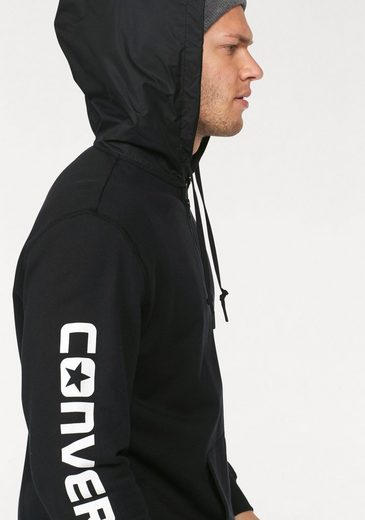 Converse Hooded Sweat Jacket Mixed Media Full-zip Hoodie, Hood Made Of Slightly Shiny, Woven Fabric