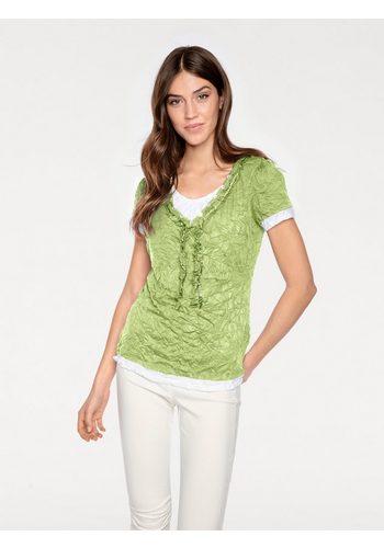 Damen heine CASUAL Shirt 2 in 1 mit Rüsche grün | 08698304572464