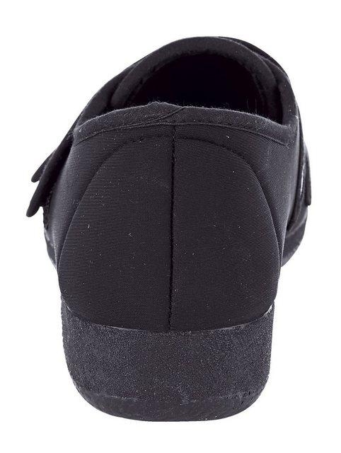 Damen Naturläufer Klettslipper in eleganter Optik schwarz | 04055709941648