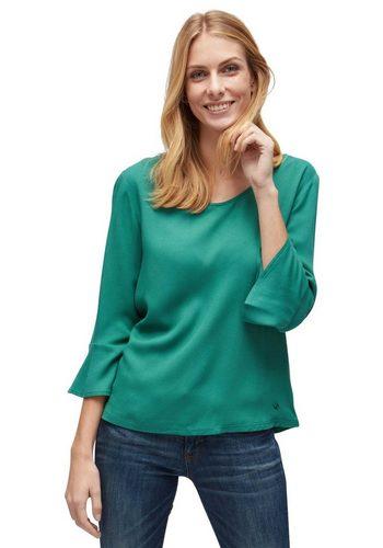 Damen Tom Tailor 3/4-Arm-Shirt mit Volant-Ansatz am Armsaum grün | 04060586457236