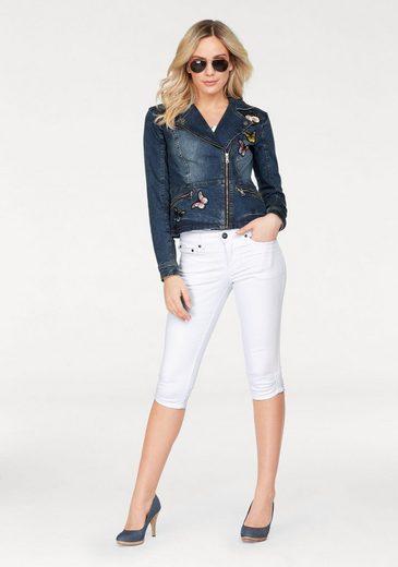 Arizona Jeansjacke mit Stickerei und Patches, im Biker-Style