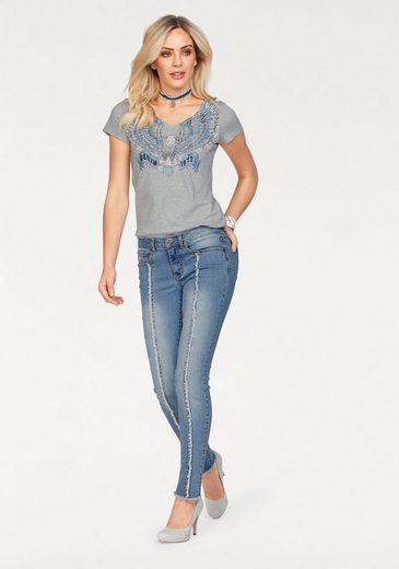 Arizona Skinny-fit-Jeans mit Fransen-Naht vorn, Mid Waist